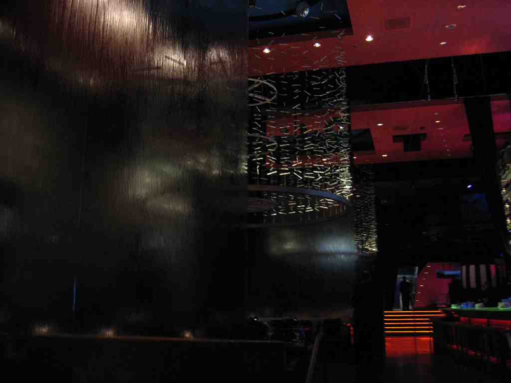 Glass Walls of Waterfalls in Rum Jungle restaurant and nightclub at Mandalay Bay