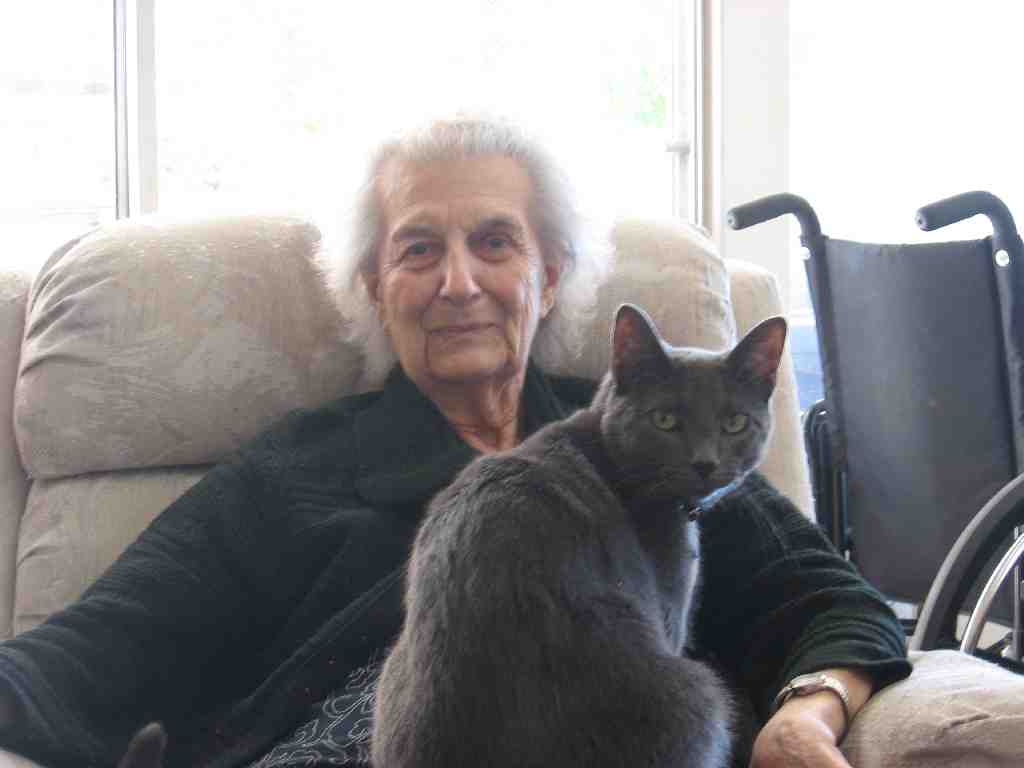 Lady (age 95) with a cat